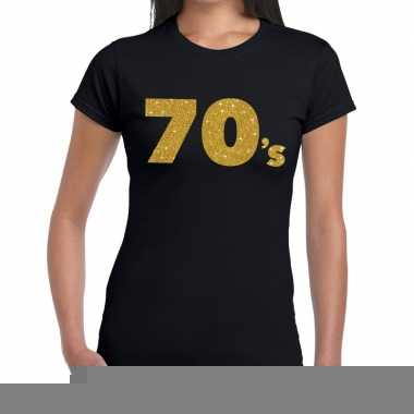 Goedkope seventies goud fun t shirt zwart voor dames