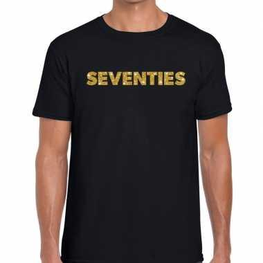 Goedkope seventies gouden letters fun t shirt zwart voor heren