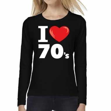 Goedkope seventies long sleeve shirt met i love 70s bedrukking zwart