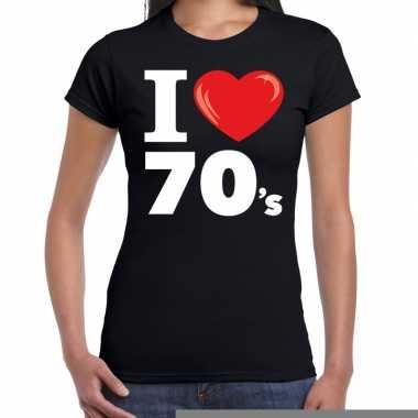 Goedkope seventies shirt met i love 70s bedrukking zwart voor dames