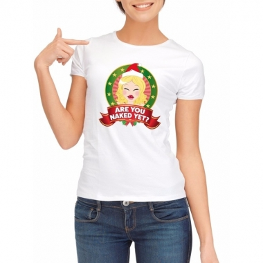 Goedkope sexy foute kerstmis shirt wit voor dames are you naked yet