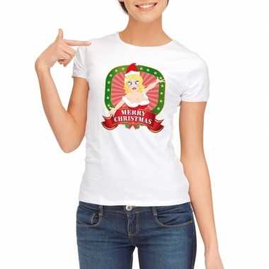 Goedkope sexy foute kerstmis shirt wit voor dames merry christmas