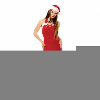 Goedkope sexy kerst jurkje met kerstmuts voor dames