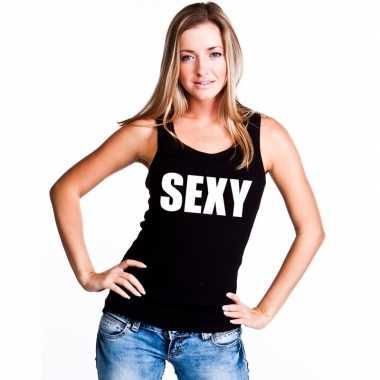 Goedkope sexy mouwloos shirt zwart voor dames