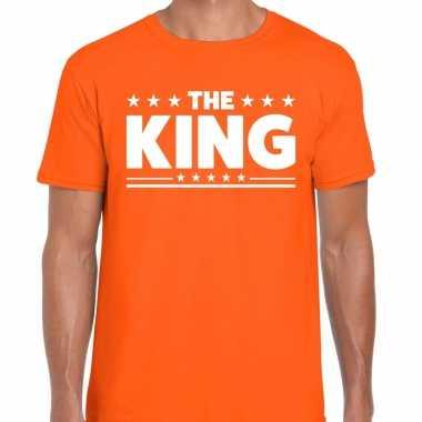 Goedkope shirt bedrukt met the king oranje heren