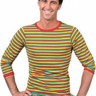 Goedkope shirt in carnavalskleuren voor heren
