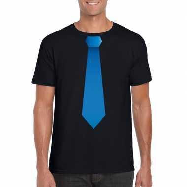 Goedkope shirt met blauwe stropdas zwart heren