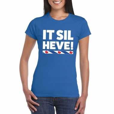 Goedkope shirt met friesetekst it sil heve blauw dames