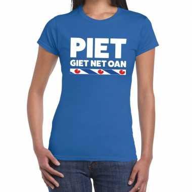Goedkope shirt met friesetekst piet giet net oan blauw dames