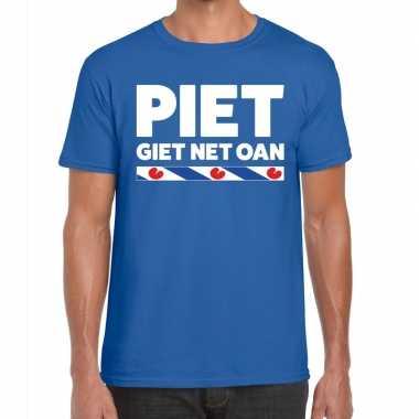Goedkope shirt met friesetekst piet giet net oan blauw heren