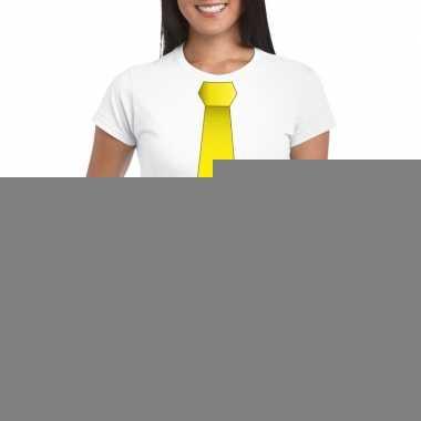 Goedkope shirt met gele stropdas wit dames