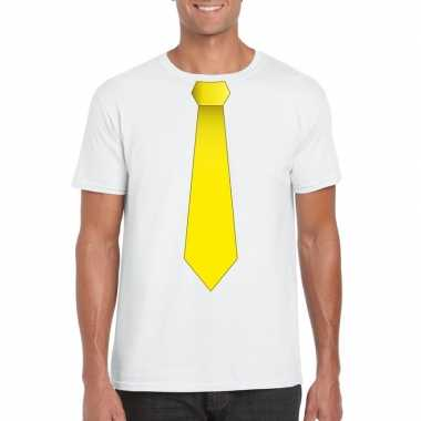 Goedkope shirt met gele stropdas wit heren