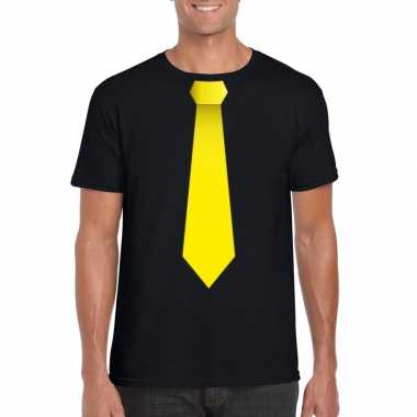 Goedkope shirt met gele stropdas zwart heren