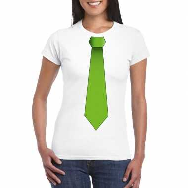 Goedkope shirt met groene stropdas wit dames