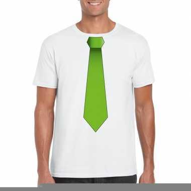 Goedkope shirt met groene stropdas wit heren
