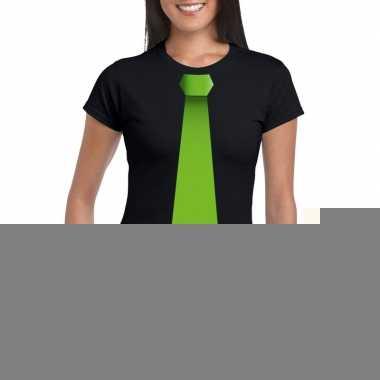 Goedkope shirt met groene stropdas zwart dames