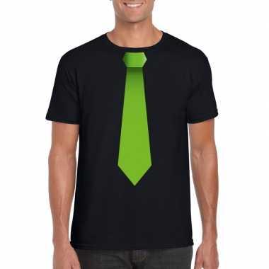 Goedkope shirt met groene stropdas zwart heren