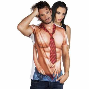 Goedkope shirt met naakte man opdruk