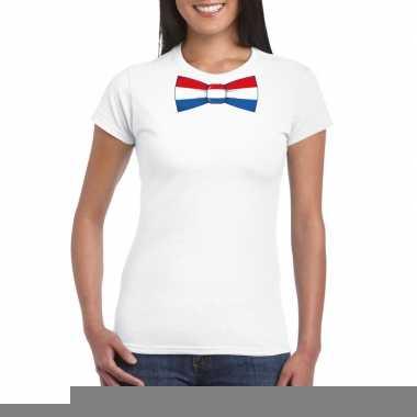 Goedkope shirt met nederland strikje wit dames