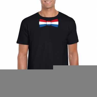 Goedkope shirt met nederland strikje zwart heren