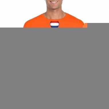 Goedkope shirt met nederland stropdas oranje heren