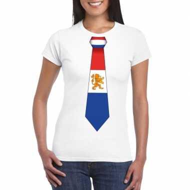 Goedkope shirt met nederland stropdas wit dames