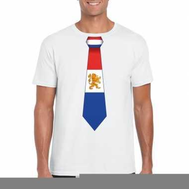 Goedkope shirt met nederland stropdas wit heren