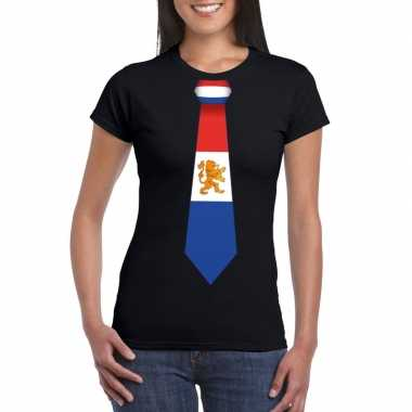 Goedkope shirt met nederland stropdas zwart dames
