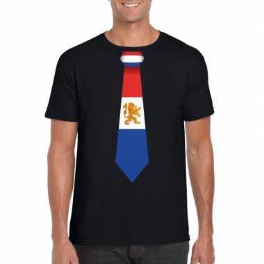 Goedkope shirt met nederland stropdas zwart heren