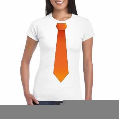 Goedkope shirt met oranje stropdas wit dames
