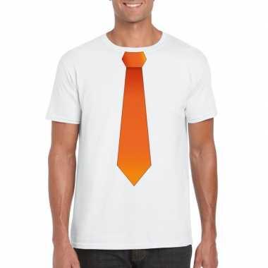 Goedkope shirt met oranje stropdas wit heren