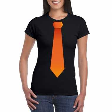 Goedkope shirt met oranje stropdas zwart dames