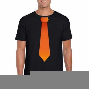 Goedkope shirt met oranje stropdas zwart heren