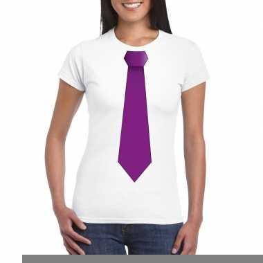 Goedkope shirt met paarse stropdas wit dames