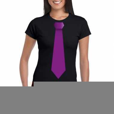 Goedkope shirt met paarse stropdas zwart dames