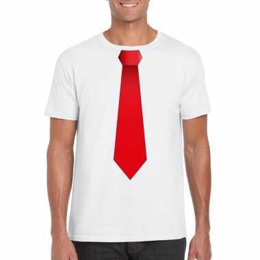 Goedkope shirt met rode stropdas wit heren