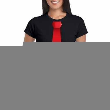 Goedkope shirt met rode stropdas zwart dames