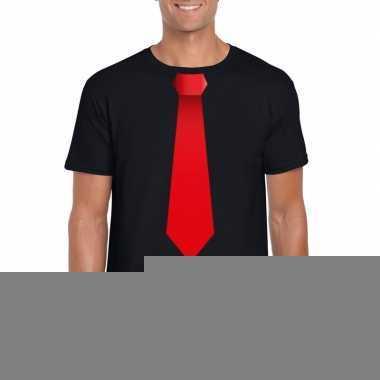 Goedkope shirt met rode stropdas zwart heren