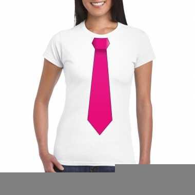 Goedkope shirt met roze stropdas wit dames
