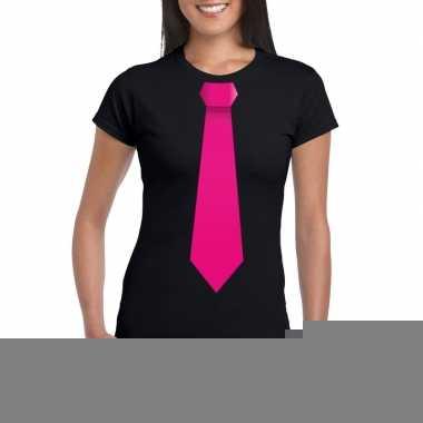 Goedkope shirt met roze stropdas zwart dames