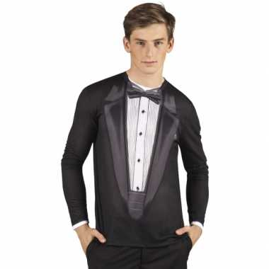 Goedkope shirt met tuxedo opdruk