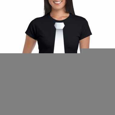 Goedkope shirt met witte stropdas zwart dames