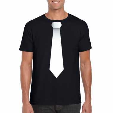 Goedkope shirt met witte stropdas zwart heren