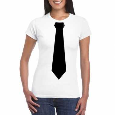 Goedkope shirt met zwarte stropdas wit dames