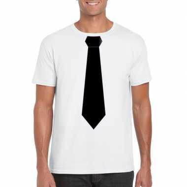 Goedkope shirt met zwarte stropdas wit heren
