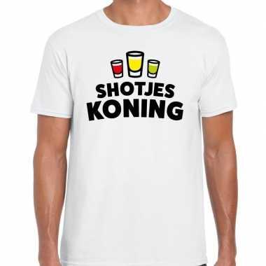 Goedkope shotjes koning fun shirt wit voor heren drank thema