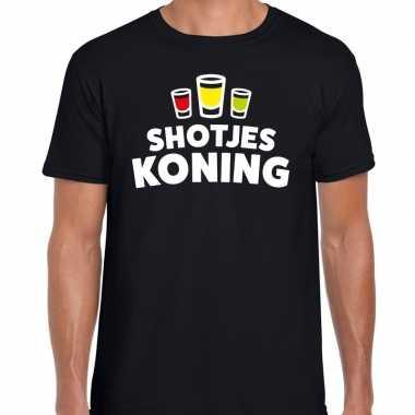 Goedkope shotjes koning fun shirt zwart voor heren drank thema