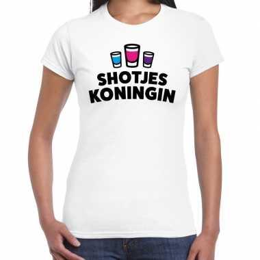 Goedkope shotjes koningin fun shirt wit voor dames drank thema