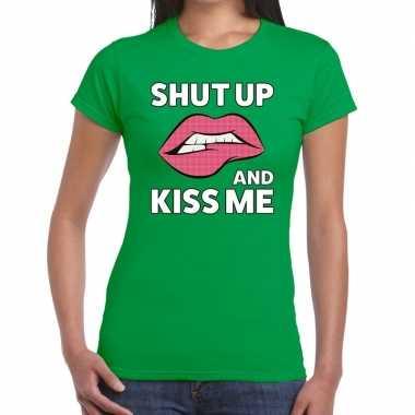 Goedkope shut up and kiss me groen fun t shirt voor dames