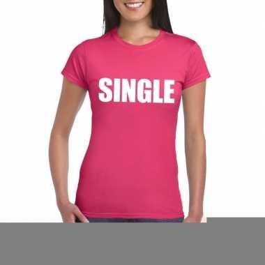 Goedkope single fun t shirt roze voor dames